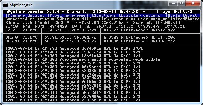 Software Gallery: BFGMiner | Most use full BTC miner