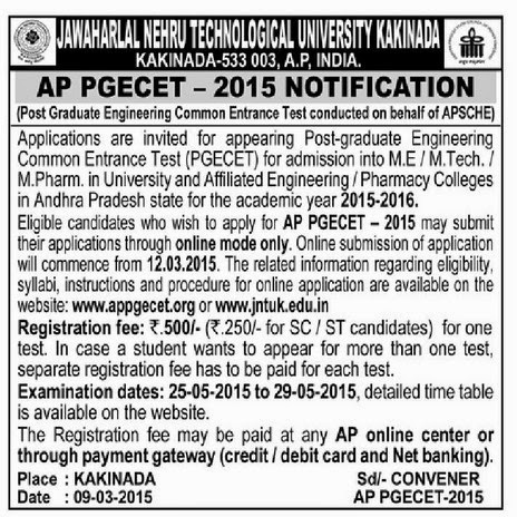 AP PGECET 2015 Notification, Online Applications, Important Dates Schedule, pgecet 2015 contact numbers, appgecet 2015 exam date