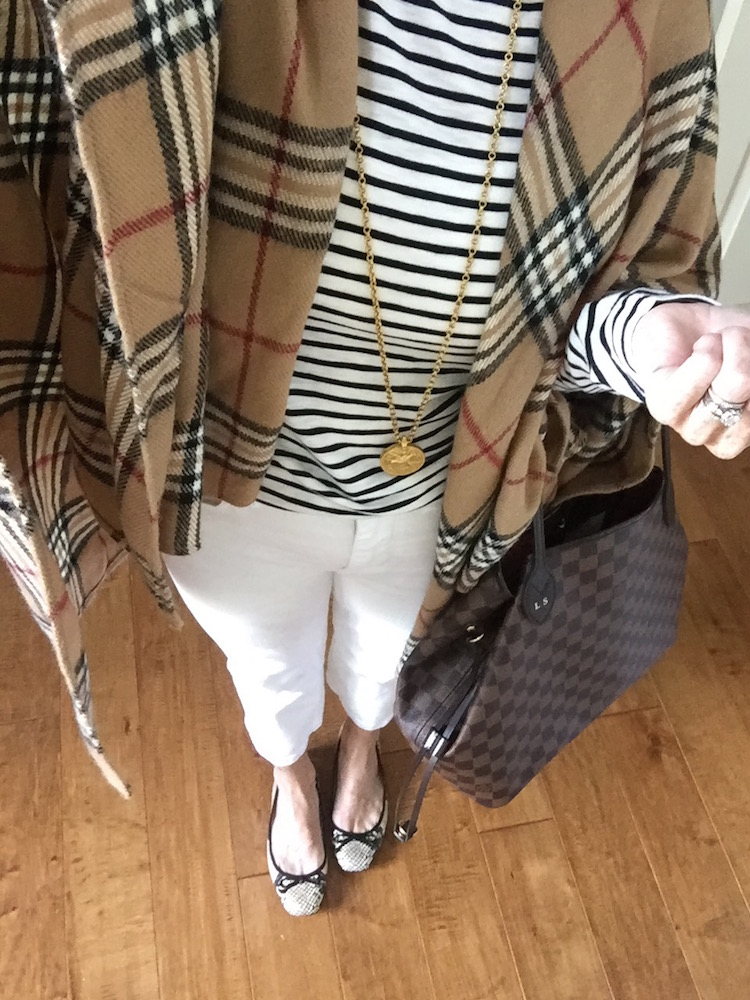 stripe tee with plaid scarf and gold pendant