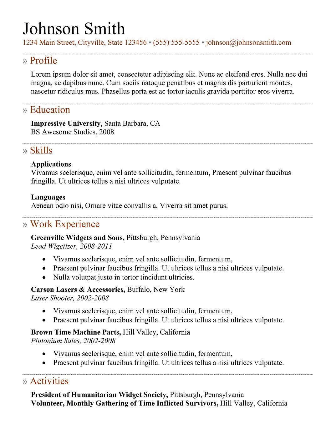 5 best samples resume objective examples samples of cv for Ressume template