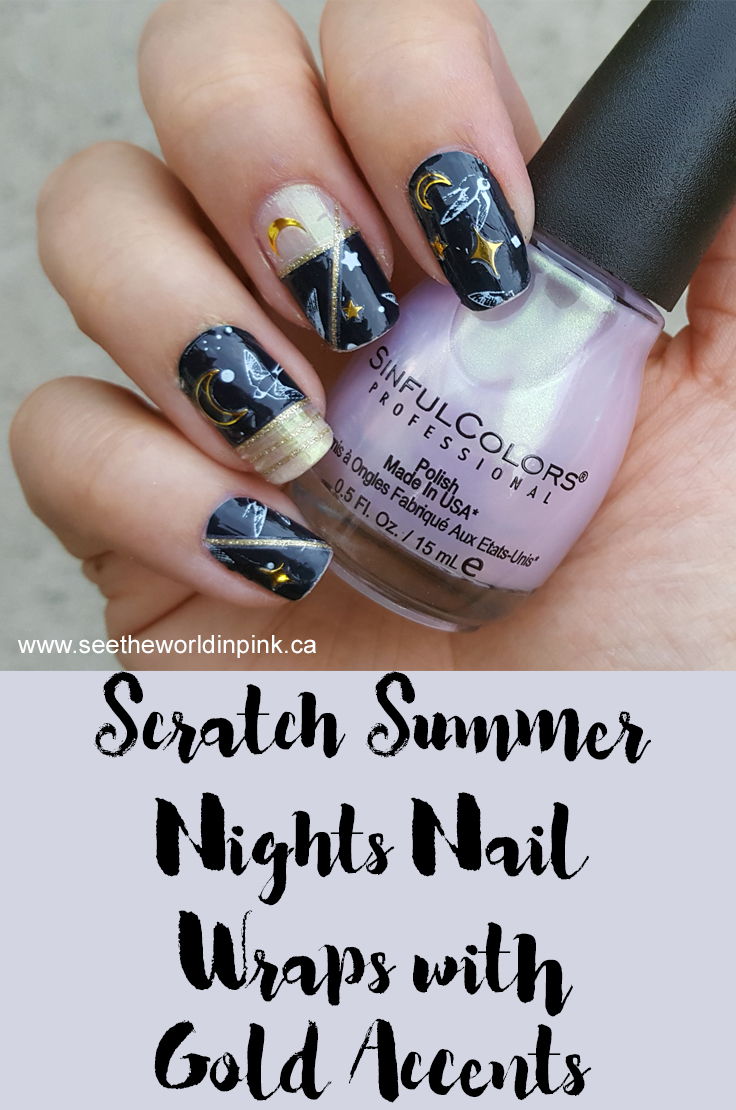 Manicure Monday - Scratch x NinaNailedIt Summer Nights Nail Wraps with Gold Accents!