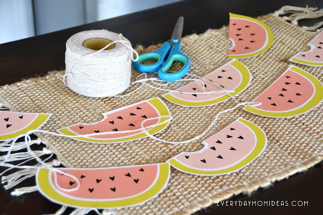 Blush Coral & Lime Green Watermelon Love (FREE Paper Garland Printable)