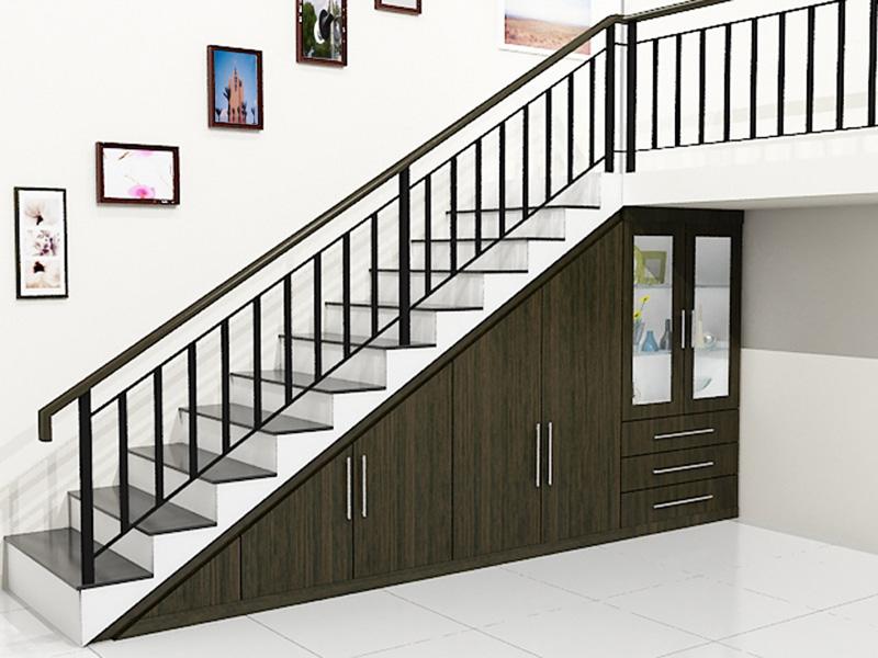 lemari bawah tangga single line minimalis