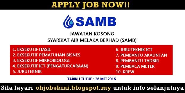 Jawatan Kosong Syarikat Air Melaka Berhad (SAMB)
