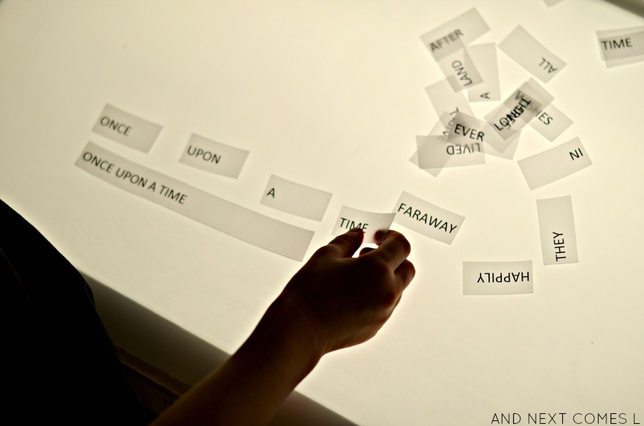 Building common fairy tale sentences on the light table from And Next Comes L