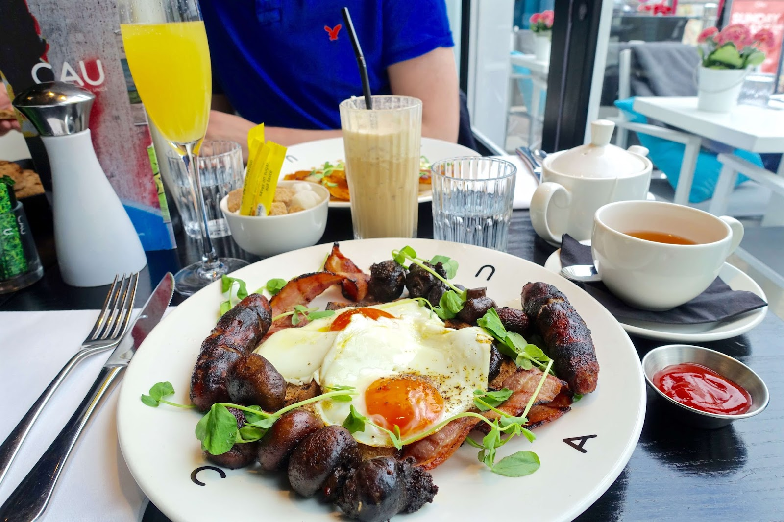 Full english breakfast at CAU with black pudding
