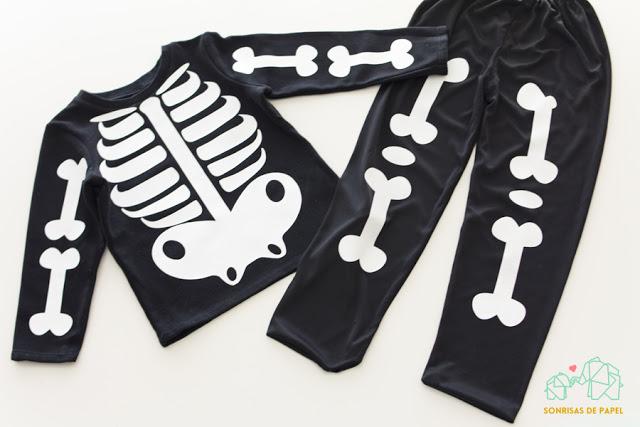 disfraz de esqueleto para niños DIY