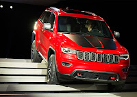 The Trailhawk version of the Jeep Grand Cherokee is introduced at the New York International Auto Show at the Javits Center on March 23, 2016 in New York City. (Credit: Bryan Thomas/Getty Image) Click to Enlarge.