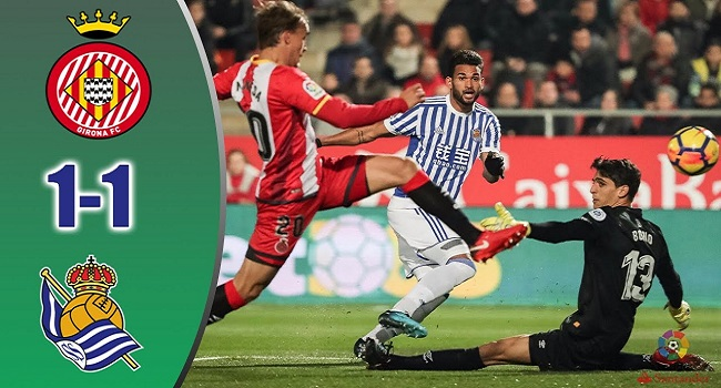 cuplikan gol girona vs real sociedad 1-1