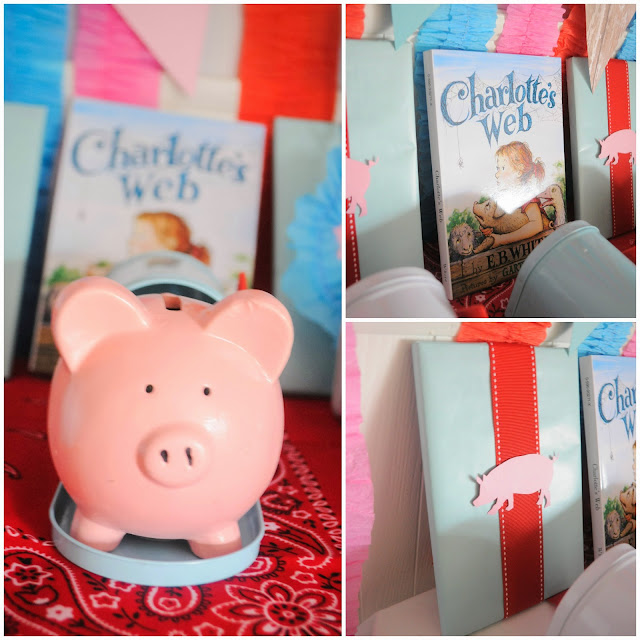 Piggy bank favors for a Charlotte's Web birthday party