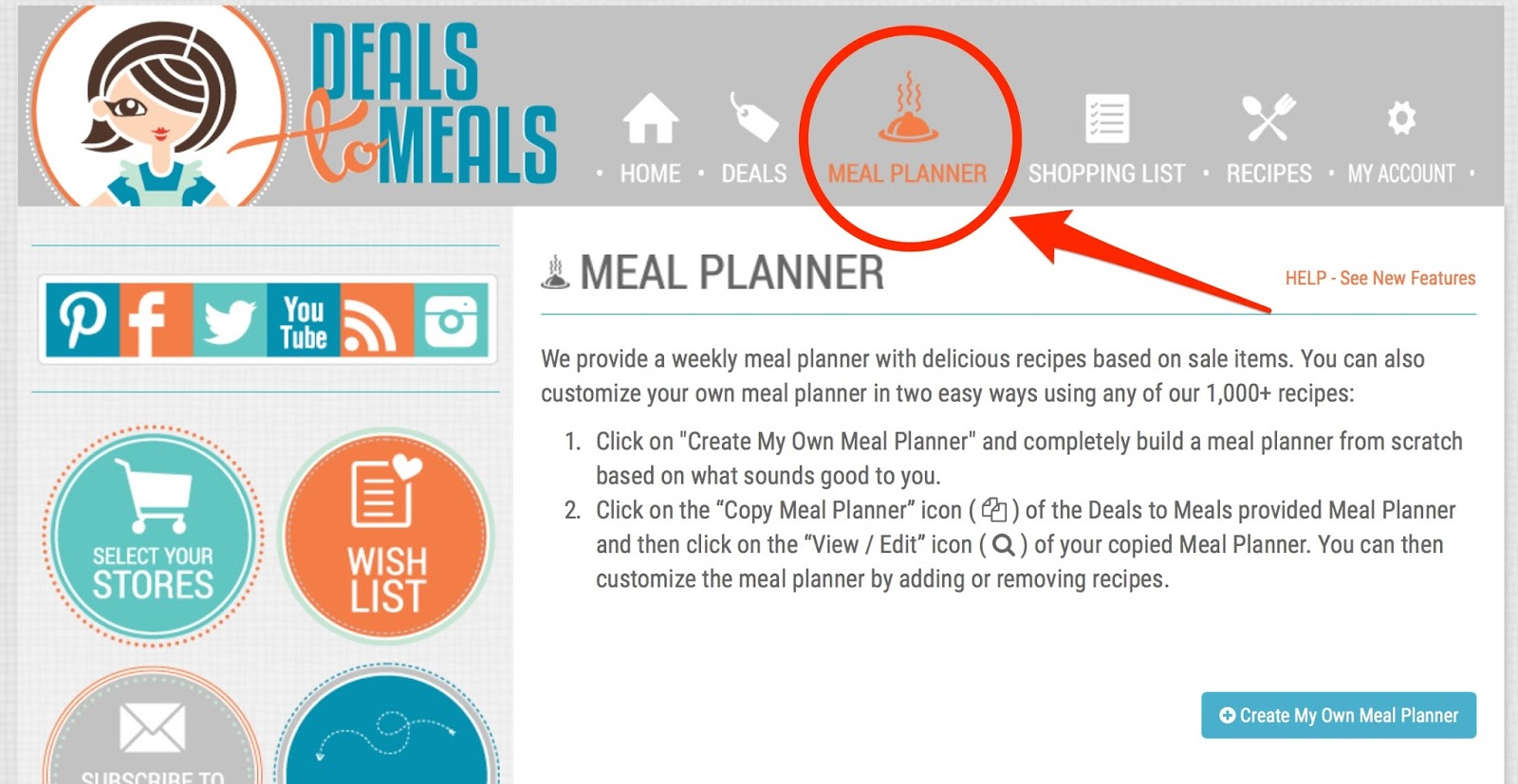 creating your grocery list using the deals to meals meal planner
