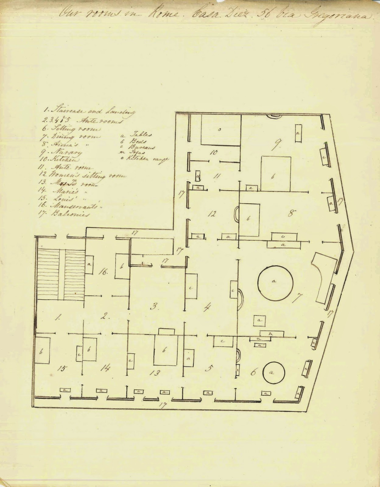 A hand-drawn floor plan.