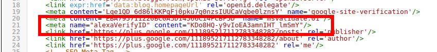 Menaruh kode Verifikasi Alexa di blog