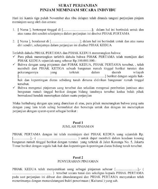 Download Contoh Surat Perjanjian Pinjam Meminjam Secara Individu Yang Rsmi Format Word