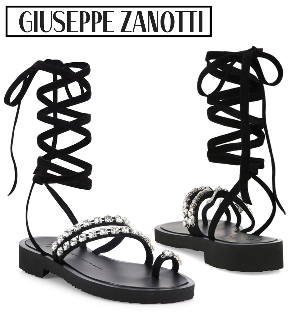 Giuseppe Zanotti Crystal-Embellished Suede Lace-Up Sandals
