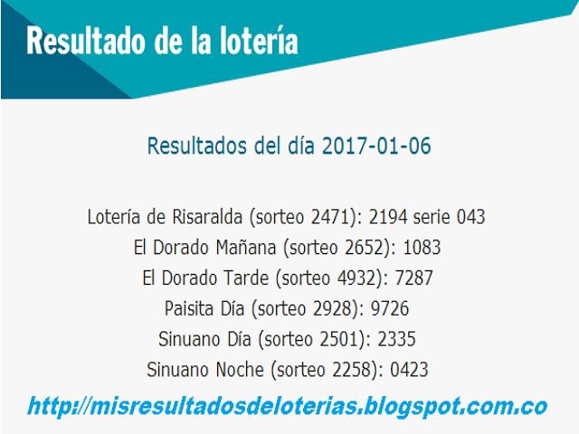 Loterias de Hoy - Resultados diarios de la lotería y el chance  - Enero 7 2017