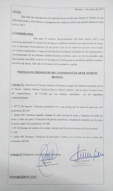 Disposición N° 17/17: Autorización de pago a la firma Bueno Gabriel Alberto por trabajos realizados en EP 22, Jardin 905, EP 44 y Jardin 901