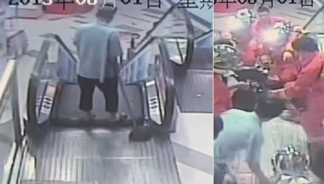Chinese cleaner had his leg ripped off by an escalator