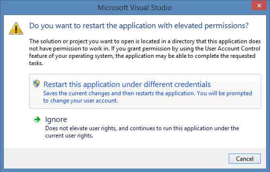 Do you want to restart the application with elevated