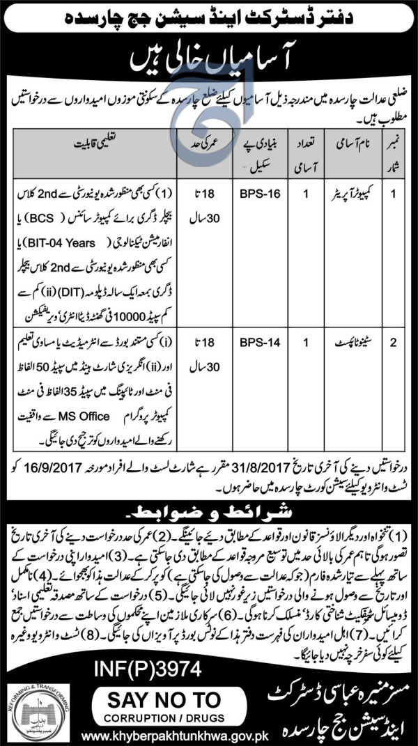 Jobs in District and Session Court Charsadda August 2017.