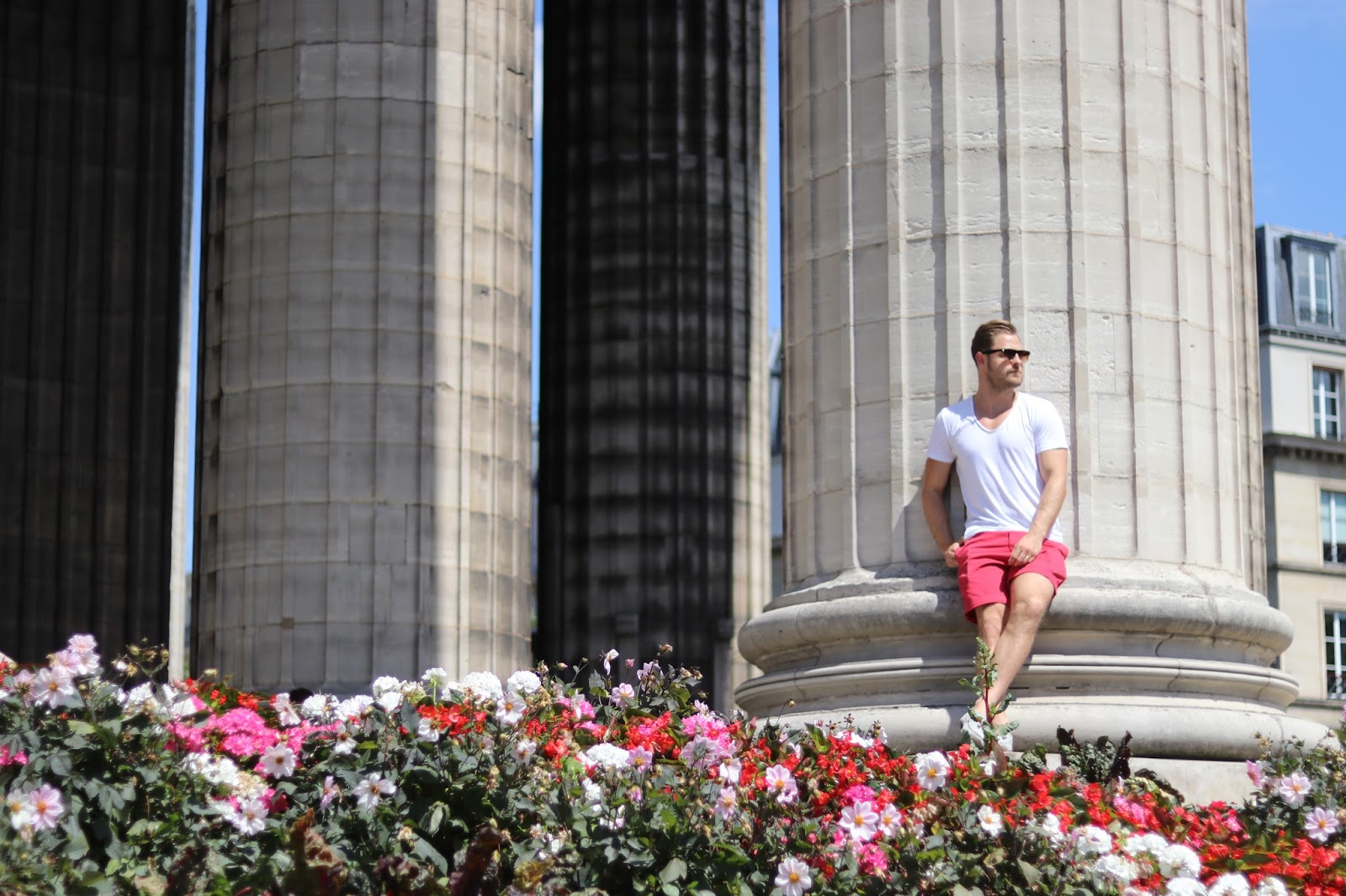 Ben Heath, Twenty First Century Gent leaning against pillars in Paris, France