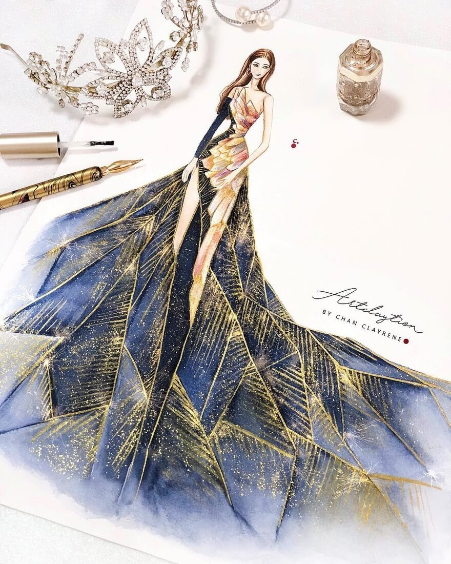 04-Haute-Couture-for-Metgala-2018-Clayrene-Chan-Drawings-of-Lavish-Flowing-Dress-Designs-www-designstack-co