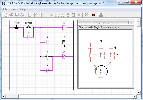 Contoh 4 Rangkaian Starter Motor dengan resistansi tunggal