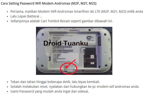 Cara Mudah Mengatasi Lupa Password Wifi Modem Andromax (M2P, M2Y, M2S)