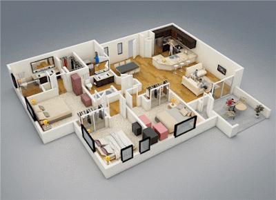 Contoh Gambar 3D Desain Rumah Minimalis Modern Terbaru 3