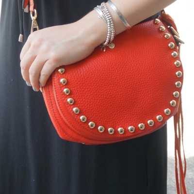 Rebecca Minkoff unlined saddle bag in cherry red | Away From The Blue