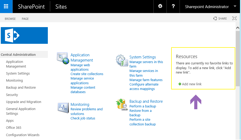 sharepoint 2013 central admin resources list