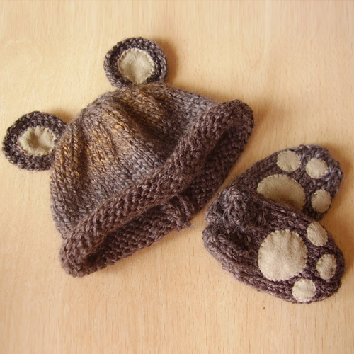 Easy Baby Bear Hat and Mittens Set - Free Pattern