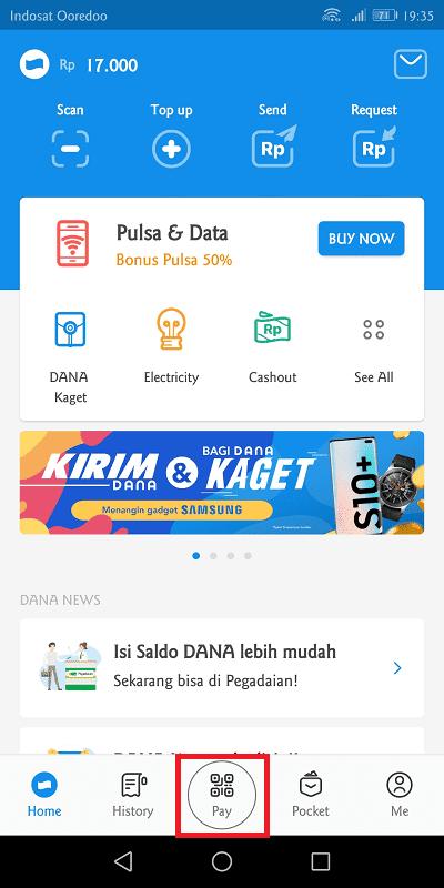 klik menu pay untuk melakukan pembayaran