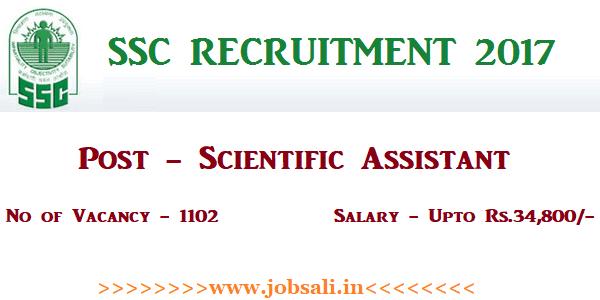 SSC Notification, SSC Scientific Assistant Vacancy, SSC Online application form
