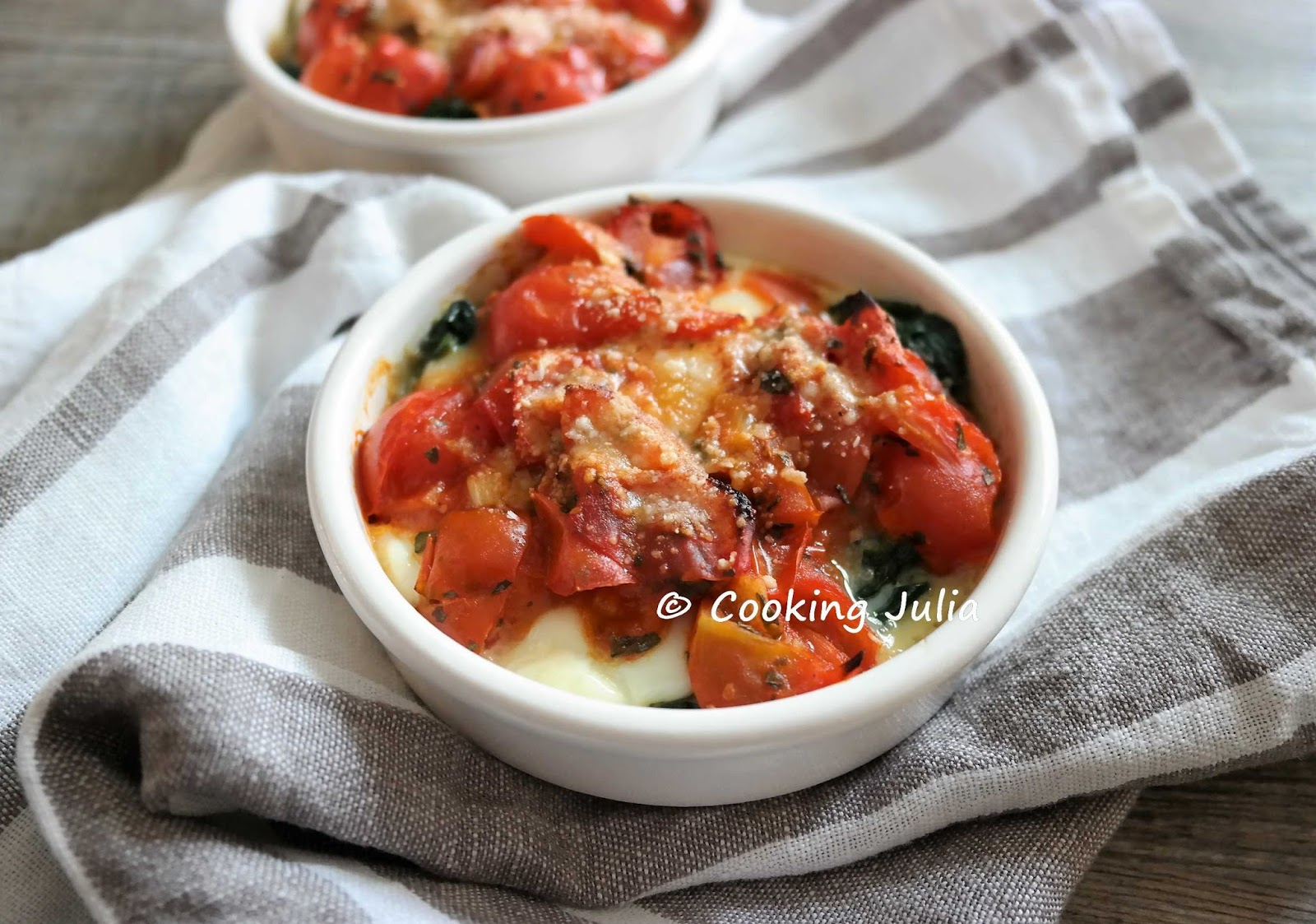 Cooking Julia œufs Cocotte Aux Epinards Et Tomates