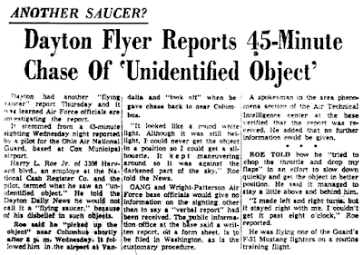 Dayton Flyer Reports 45-Minute Chase of 'Unidentified Flying Object' - Dayton Daily News 6-24-1954