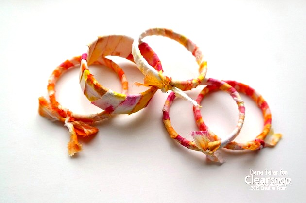 Izink Tie-Dyed Fabric Wrapped Bangle Bracelts by Dana Tatar