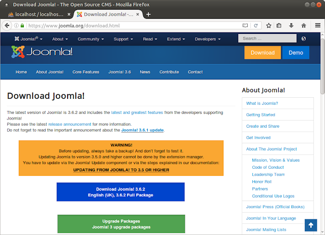 Официальный сайт Joomla, раздел Download.