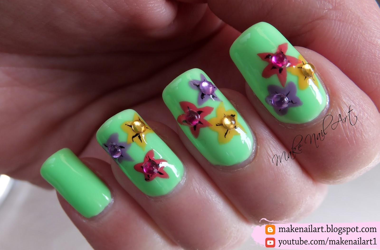 Make Nail Art Easy Spring Flowers Nail Art Design Tutorial