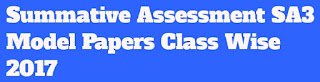 Summative Assessment-3 (S.A-III) Model Papers Class wise Subject wise