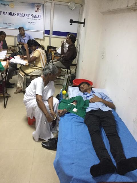 Rotary Club in partnership with the Department of Commerce, University of Madras organised Blood Donation Camp