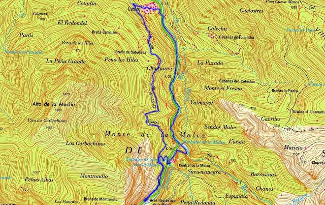 Mapa 2 Ruta del Castro - Parque Natural de Somiedo