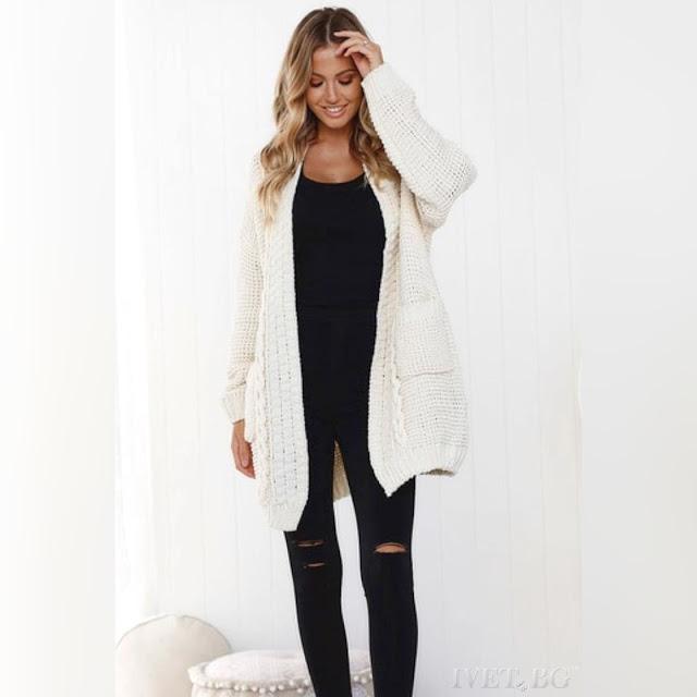 Γυναικεία πλεκτή άσπρη ζακέτα ESRA WHITE