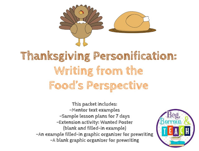 Thanksgiving Personification Writing: Writing from the Food's Perspective.