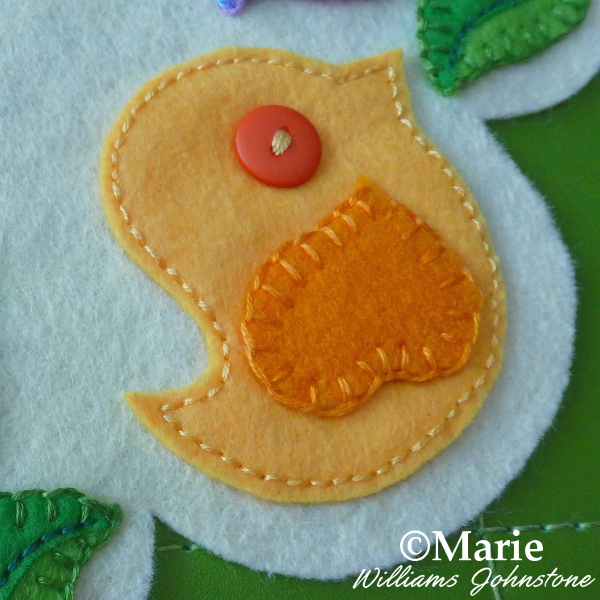 Yellow Spring Easter Chick bird hand sewn with felt and a orange button eye
