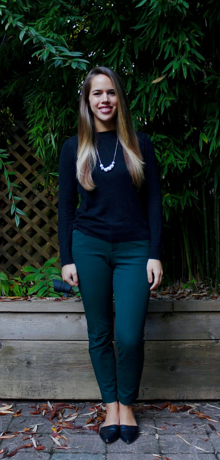 Jules in Flats - Forest Green Ankle Pants with Simple Black Sweater (Business Casual Fall Workwear on a Budget)