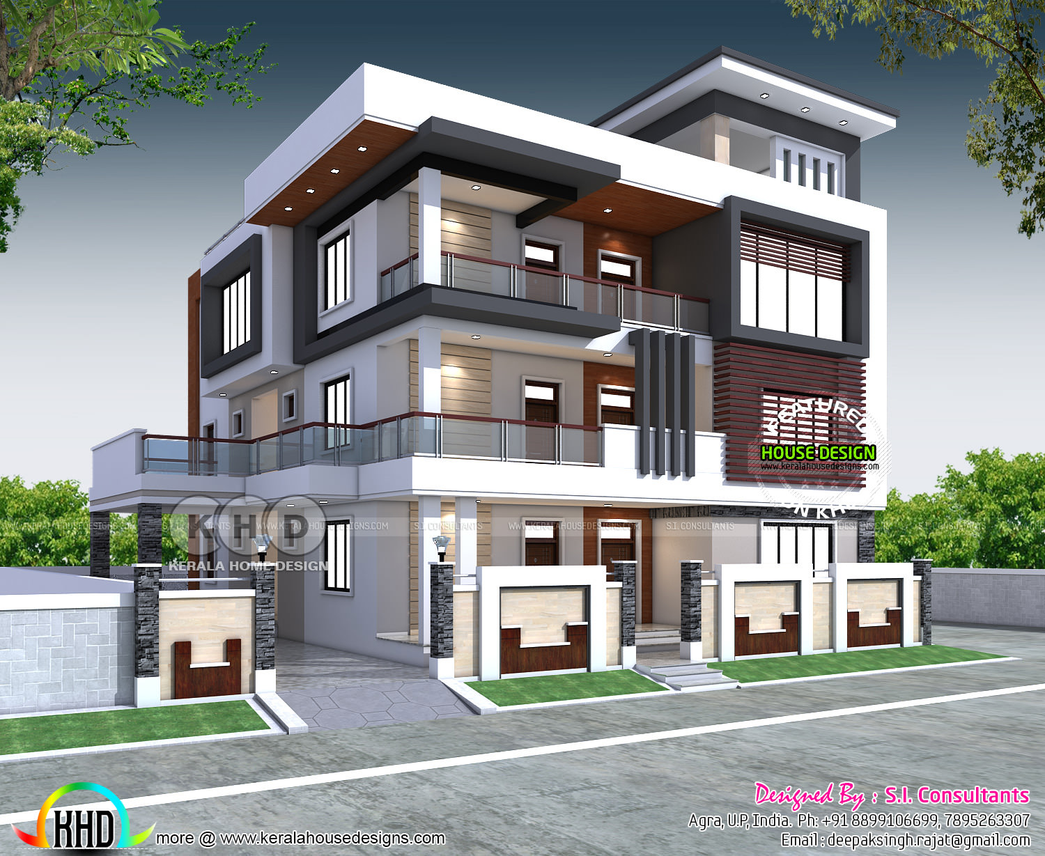Luxury North India house plan in modern style | Kerala ...