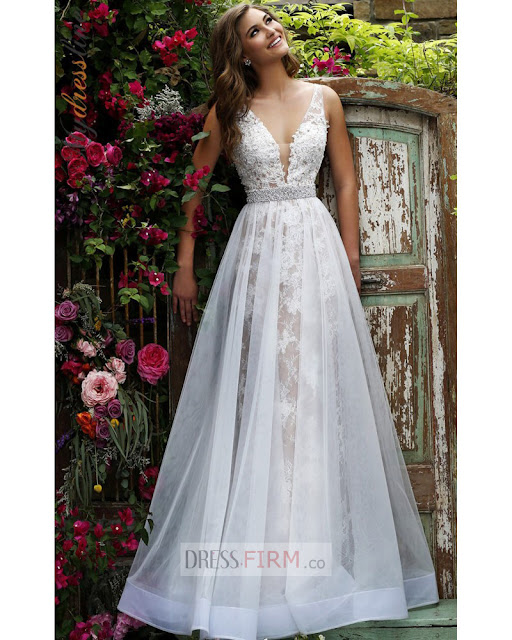 http://www.elianadress.co.uk/Cheap-2017-a-line-white-deep-v-neck-organza-beaded-sash-lace-prom-dress-p-63181.html
