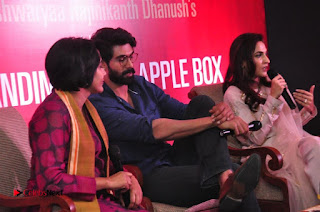 Aiswarya Rajinikanth Dhanush Standing on an Apple Box Launch Stills in Hyderabad  0073.jpg