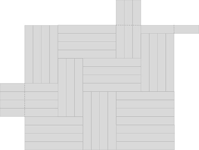 Zeichnung Klebemuster - Vorlage für Tablett